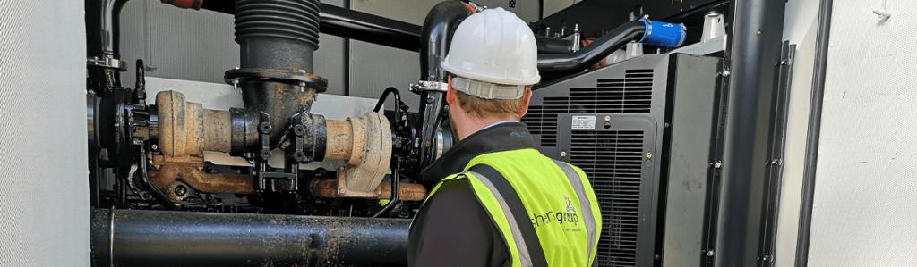 Shenton Engineer Inspects Generator
